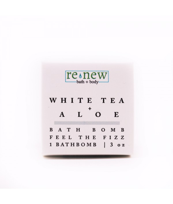 white tea + aloe bath bomb