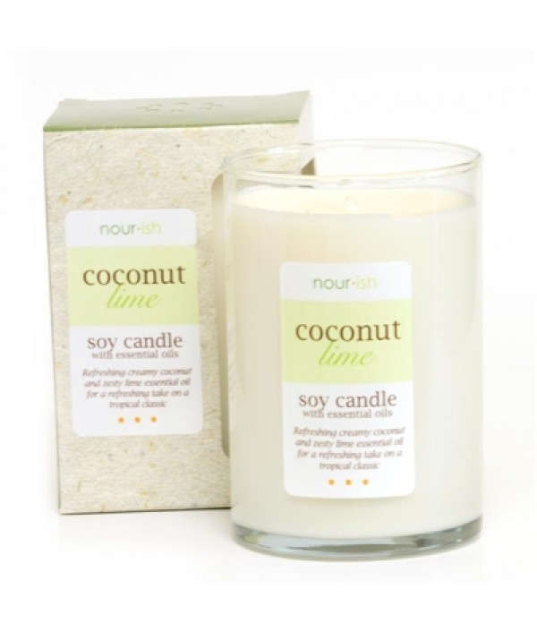 nourish coconut + lime soy candle