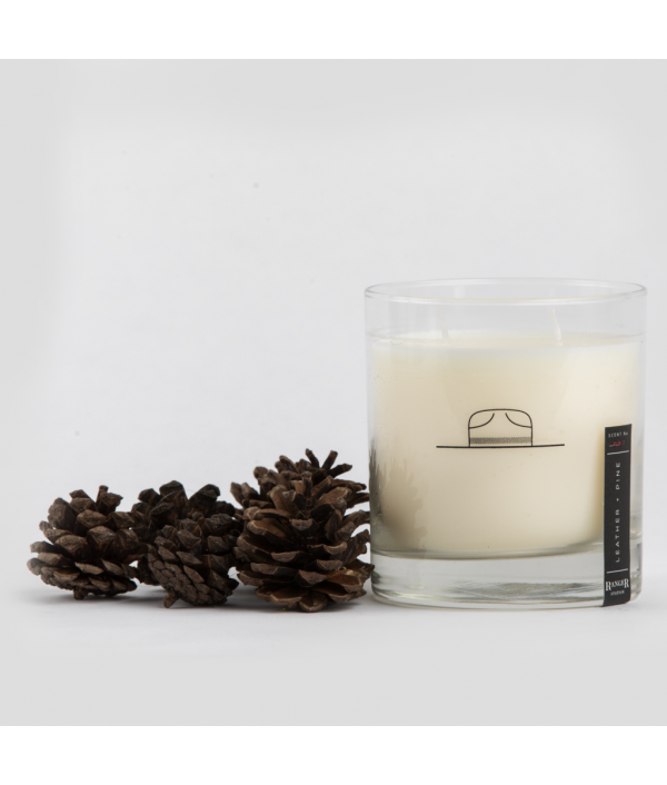 ranger station leather + pine soy candle